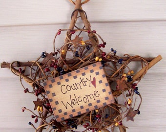 """Country Welcome Primitive Rust Star 10"""" Wreath~Pip berries"""