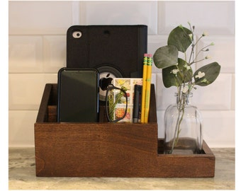Boardwalk Warm Brown Charging Station Wood Docking Station Desk Organizer Countertop Nightstand Organizer Valet Charger