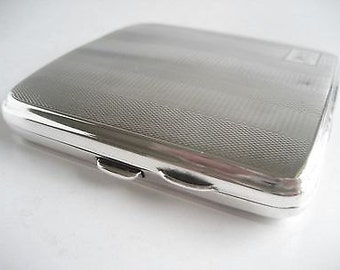 Vintage Art Deco Solid Silver Engine Turned Cigarette Case - Charles Perry - Chester 1927