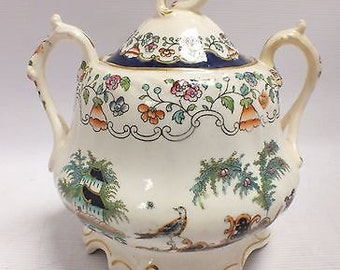 Rare Antique Victorian 1843 G.F. BOWERS Tunstall Pottery Porcelain LIDDED POT