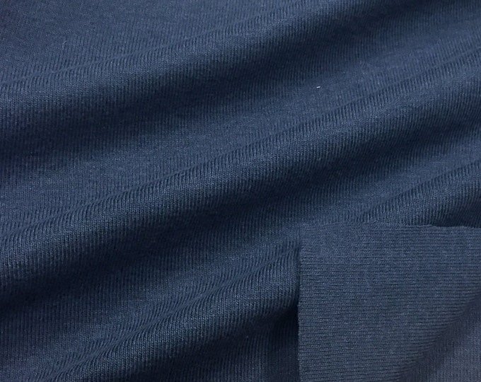 100% Cotton 1x1 Rib Knit Fabric (Wholesale Price Available By the Bolt) USA Made High Quality - 4001C5 Navy - 1 Yard