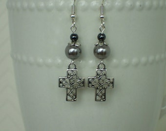 Antique Silver Plated Hemalyke Beaded Earrings