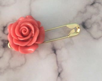 Gold Rose large jewelry safety pin jewelry brooch