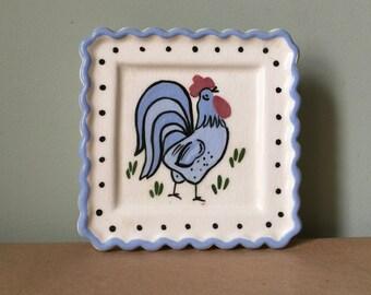 Blue Rooster Wall Pocket Vase 1940s Ceramic Kitchenalia
