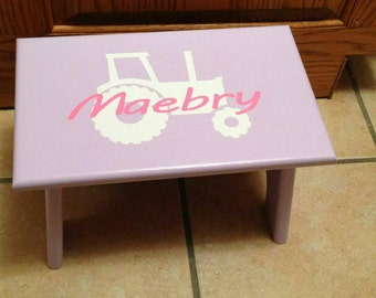 Personalized Stool, Little Kid Step Stool, Girl Step Stool, Tractor