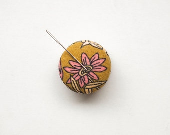 Large Needle Minder, Design #3 - Chartreuse and Pink Flower, Cross Stitch Accessory