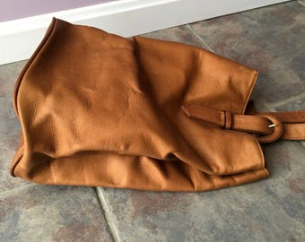 Vintage Brown Cowhide Backpack, Purse