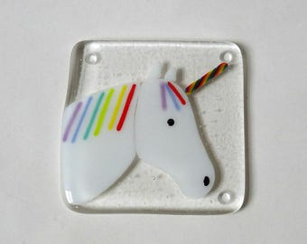 Unicorn coaster, fused glass coaster, fused glass unicorn, gift for her, stained glass art, home decor, rainbow unicorn decoration