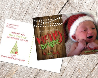 Holiday Card with custom photo, printable, Merry Christmas card with custom photo, postcard, instant download