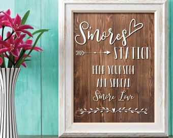 Smores Station Wedding Sign | Rustic Wedding Dessert Sign | Help Yourself and Spread Smores Love | Boho Chic Wedding Dessert Bar | Smores