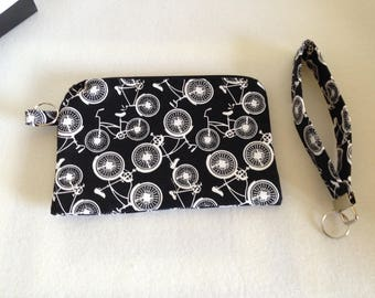 Black and White Zipper Pouch with matching Wristlet