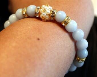 Beautiful Aquamarine-beaded handmade bracelet with tassels; beadweaving, shamballa, elegant, party wear, casual wear