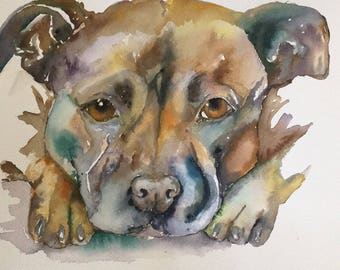 Original Acrylic Ink Painting A3 - Staffy