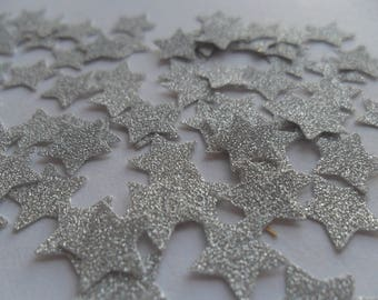 Silver glitter mini stars confetti wedding party
