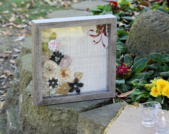 Rustic shadow box with couture accents