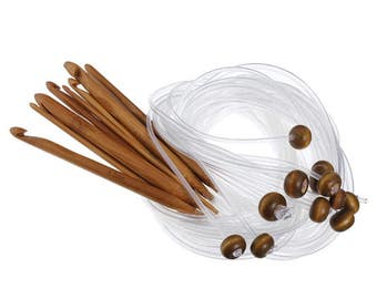 12Pcs Durable 120cm Bamboo Afghan Tunisian Crochet Hooks with Adjoined Plastic Cable 3-10mm