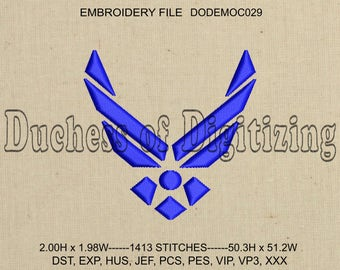 Air Force Embroidery Design, Air Force Embroidery File,  Military Embroidery, Air Force, DODEMOC029