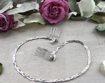 Forehead Bridal Band Grecian Bridal Hairpiece Vintage Sterling Silver
