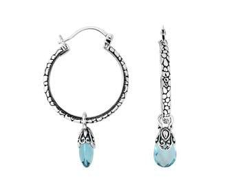 blue topaz sterling silver earring