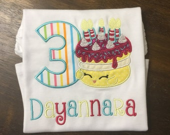 Shopkins Birthday Shirt // Shopkins Shirt // Girl Birthday Shirt // Monogrammed Birthday Shirt // Shopkins 3rd Third 4th Fourth 5th Fifth