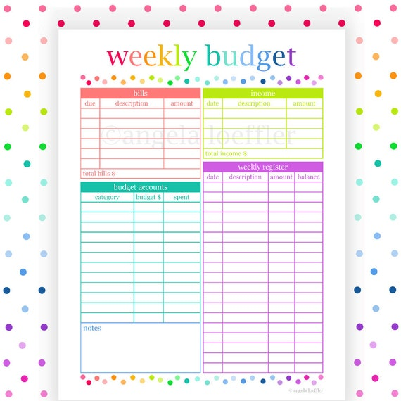 Weekly budget budget planner printable budget printable for Design my own planner