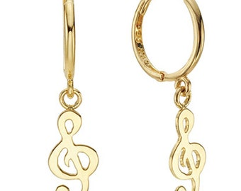 14k Solid Yellow Gold Hoop Earrings Modi Clef 6873 Charming Clef Design Lovely
