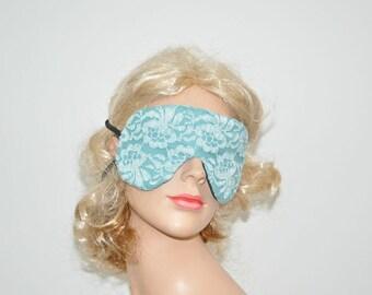 Blue Lace Sleeping mask, Eye mask, Rest your Eyes, Airplane travel mask, Lace