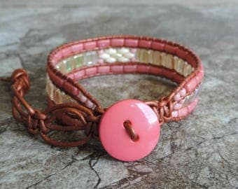 Beaded Cuff Bracelet. 3 Row Cuff Bracelet. Boho Cuff Bracelet. Tila Bead Cuff Bracelet. Leather Cuff. Beaded Leather Wrap. Beaded Bracelet.
