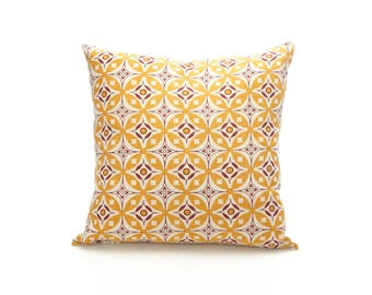 Elmas Handscreen Printed Cushion Cover - Golden Yellow / Royal Purple 60x60cm