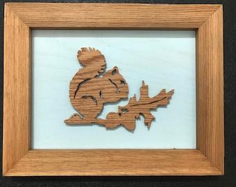 Squirrel Framed Wooden Scroll Cut Art