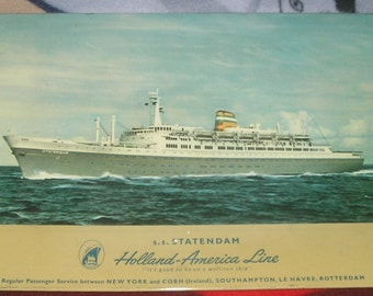 Holland America SS Statendam tin lithograph picture vintage placemat Belgium good to be on a well run ship  immegrant