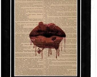 294 Lip series vintage dictionary art