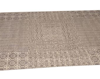 Large size rug  carpet Grey block printed natural color hand made yoga mat carpet 5 BY 7 Feet
