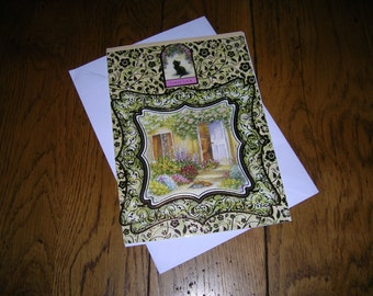 Good luck  greetings card and envelope - hand crafted size 18 cm x 21 cm