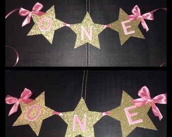 Pink and Gold twinkle twinkle little star high chair banner