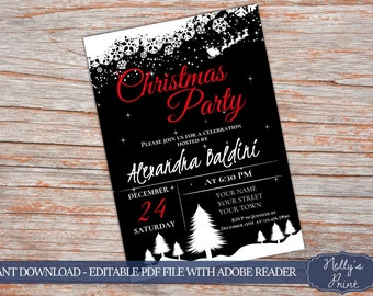 Christmas Party Invitations Christmas Party Invite Self Editable PDF Instant Download Christmas Party Invitation Printable Winter Invitation