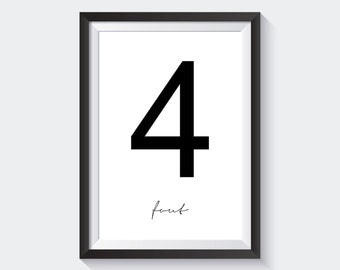 Number Four, Digital Print, White Background - Ref.P005