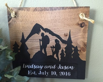 Bride and Groom hiking, mountain wedding, Hikers, 14'rs,  mountain climbers, Personalized, wedding gift, bridal shower gift, hiking couple
