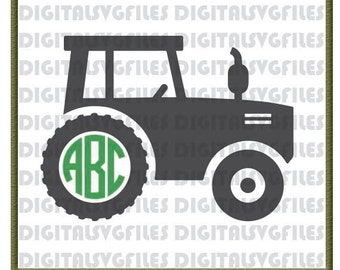 Farm Tractor Monogram, Tractor svg, Tractor dxf, Farm TractorMonogram Vector Art, SVG/DXF/PDF File for Vinyl Cutting Machine