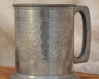Vintage Hammered Pewter Tankard - 1/2 Pint