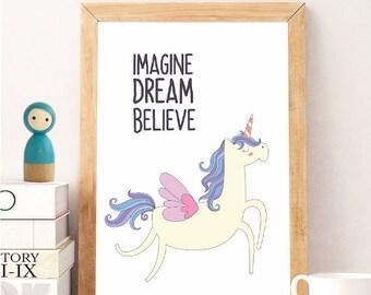 IMAGINE DREAM BELIEVE unicorn, Imagine, Quote Print, Imagine Quote, Imagine Print, Motivational Print,Inspirational Print,Printable Wall Art