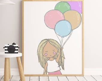Girl Nursery Print, 50% SALE, Baby Girl Wall Art Nursery Room, Illustration For Kids, Art For Girls, Kids Toys. girls with ballons, girl art