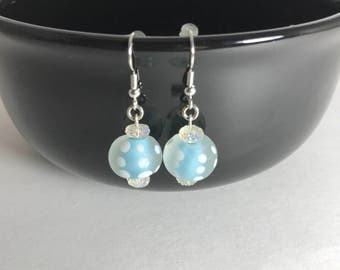 Frosted Glass Earrings, Frosted Earrings, Light Blue Earrings, Glass Earrings
