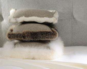 Fine wool and rabbit fur cushion