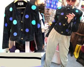 Vintage Black Dotty Suede Cropped Jacket, 10/12 (38)