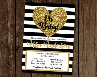 Black and Gold Baby Shower Invitation, Gold Sparkle Baby Shower, Printable Baby Shower Invitation, Baby Sprinkle Invite