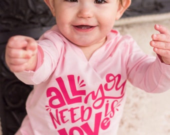 Valentine hoodie for girls, Valentine shirt for girls, kids Valentine shirt, girls Valentine shirt, all you need is love shirt, pink