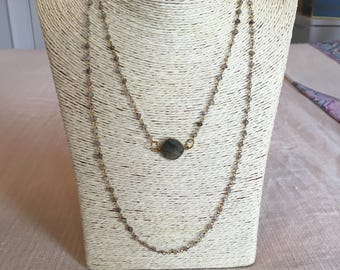 rosary chain necklace w/ labradorite circle