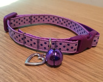 Purple and Lilac Spotty Dotty Cat/Kitten Collar (Quick Release)