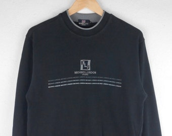 RARE!!! Michiko London Jeans Big Logo Crew Neck Black Colour Sweatshirts Hip Hop Swag M Size